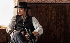 Обои Великолепная семерка, ножи, Lee Byung-hun, вестерн, ковбой, жилетка, перчатки, револьвер, The Magnificent Seven, Ли Бён ...
