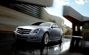 Картинка дорога, авто, город, Cadillac, скорость, CTS, Sport Sedan