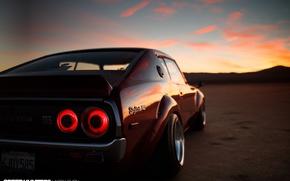 Обои закат, облака, Skylines, небо, '90s Heart, Nissan, '70s Body, вечер, огни, GTR, отражения, стоп сигнал