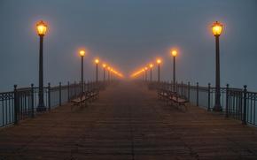 Обои туман, фонари, причал