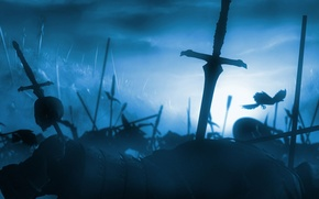 Обои битва, война, труп, меч