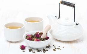 Картинка белый, чай, розы, чайник, чашки, напиток