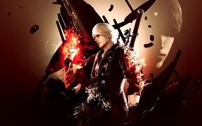 Обои пистолет, огонь, рука, меч, Красная Королева, Неро, Devil may cry 4, Nero, artwork, DmC, Syan ...