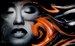 Картинка девушка, лицо, стена, граффити, рисунок