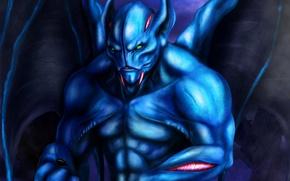 Картинка синий, крылья, существо, арт, Dota 2, Night Stalker, Balanar, niekholest
