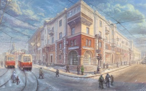 Картинка зима, дорога, машины, город, дом, улица, светофор, фонарь, трамвай, прохожие