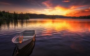 Обои закат, озеро, лодка