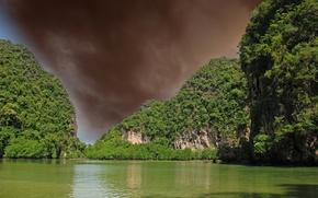 Картинка небо, вода, деревья, тучи, скалы, Таиланд, Giant Thailand Rocks