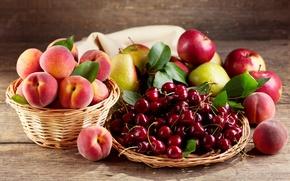 Картинка яблоки, корзинка, персики, груши, черешня