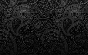 Картинка пейслийский, узор пейсли, черный фон, орнамент, завиток, огурец