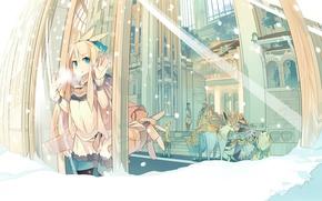 Картинка зима, животные, снег, город, улица, окно, капсула, vocaloid, Kagamine Rin, вокалоид
