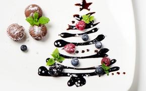 Обои Новый Год, выпечка, кексы, глазурь, тарелка, ягоды, елка, Рождество
