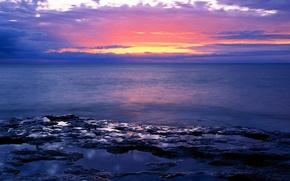 Обои море, закат, горизонт