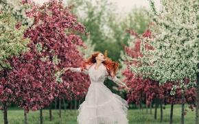 Картинка трава, деревья, цветы, природа, женщина, весна, боке