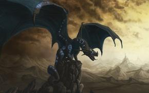 Картинка скалы, чёрный, дракон