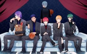 Картинка диван, мяч, аниме, костюм, галстук, парни, жилетка, Kise Ryouta, Kuroko Tetsuya, баскетбол куроко, Kuroko no …