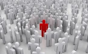 Обои красный, рендеринг, люди, много людей