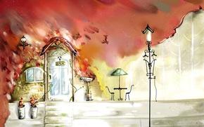 Картинка цветы, ветер, листва, рисунок, стулья, дверь, окно, фонарь, кафе, столик, вазы