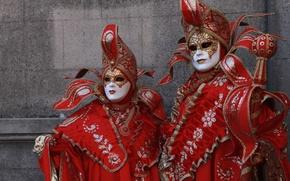 Картинка красный, маска, пара, костюм, Венеция, карнавал