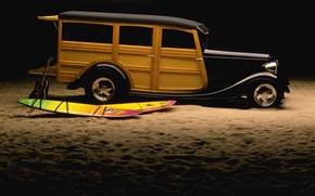 Картинка песок, фары, гитара, диски, Hot Rod, сёрф, classic