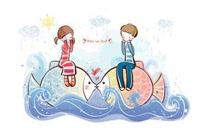 Картинка волны, вода, рыбы, рисунок, мальчик, девочка, love