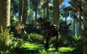 Картинка джунгли, динозавры, спор, cretaceous age, disagreement