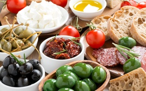 Обои хлеб, овощи, помидор, оливки, колбаса, bread, tomatoes, vegetables, olives, sausage