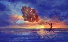 Обои море, девушка, закат, воздушные шары, эмоции, арт, бег