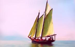 Картинка картина, лодка, яхта, море, рисунок, небо, парус, пейзаж