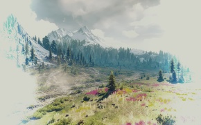 Картинка пейзаж, горы, красота, The Witcher 3