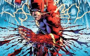 Картинка fantasy, lightning, art, comics, mask, superhero, DC Comics, Flash, costumes, artworks