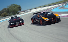 Картинка Roadster, Бугатти, Bugatti, Вейрон, Veyron, суперкар, гоночный трек, передок, and, Grand Sport, Vitesse, WRC Edition