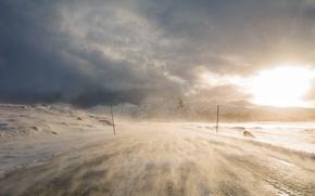 Картинка дорога, снег, метель