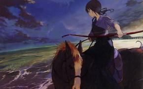 Картинка море, берег, лошадь, горизонт, лук, наездница, art, пасмурное небо, Tari Tari, Sawa Okita, И то …