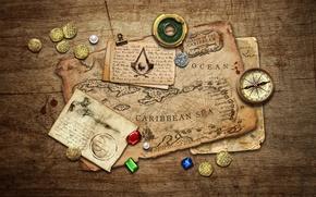 Картинка камни, стол, карта, монеты, записи, компас, Black Flag, Assassin's Creed IV