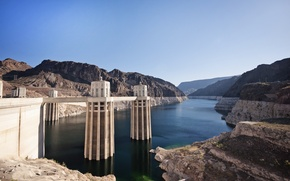 Картинка река, плотина, Колорадо, Аризона, дамба, Невада, river, Arizona, Nevada, Colorado, Boulder, Dam, Гувера, Гувер, Hoover
