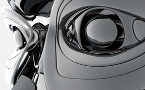 Обои сталь, Digital Art, глаза, робот
