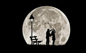 Обои пара, силуэты, танец, полная луна