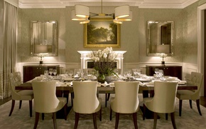 Картинка цветы, стол, стулья, интерьер, картина, люстра, ваза, орхидеи, столовая, сервировка