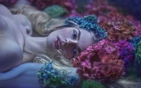 Картинка девушка, цветы, фантазия, арт, Magda, Agnieszka Lorek