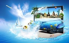 Картинка море, рыбы, пальмы, эйфелева башня, чайки, яхта, пирамида, монитор, самолёт, Биг Бен, статуя Свободы, Тадж …