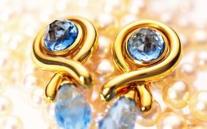Картинка золото, жемчуг, украшение, сережки, сапфир