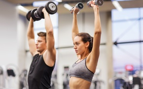 Картинка couple, group, workout, fitness, gym, dumbbells