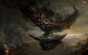 Картинка город, скалы, стимпанк, аэробус, дирежабль, летающий корабль