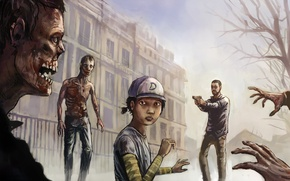 Картинка девушка, здание, мужик, арт, зомби, The Walking Dead