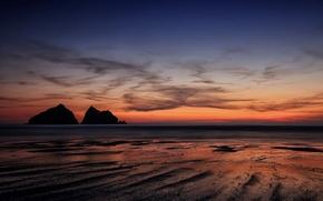 Картинка закат, Англия, силуэт, морской пейзаж, Корнуолл