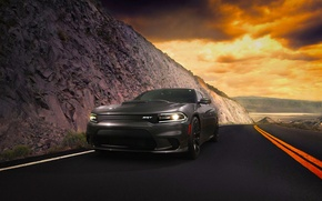 Картинка Dodge, Car, Clouds, Front, Charger, American, Hellcat, SRT, 2015, Route