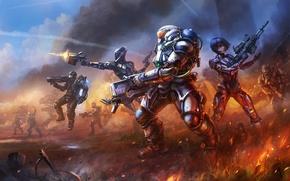 Картинка оружие, огонь, броня, выстрелы, наступление, Бойцы, мехи