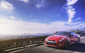 Обои небо, горизонт, red, Nissan, GT-R, мегаполис