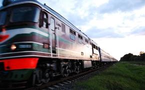 Картинка небо, вечер, Поезд